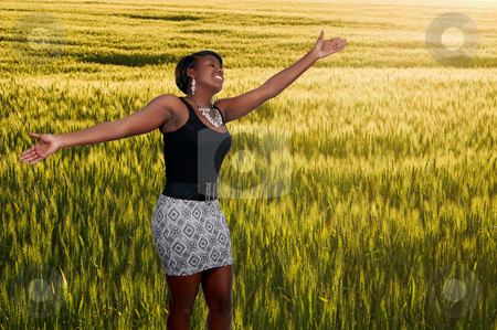 Black Woman in Winter Wheat Field